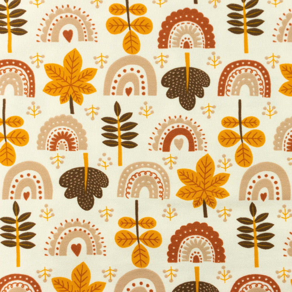 Fall Rainbows & Leaves Cotton Lycra Knit