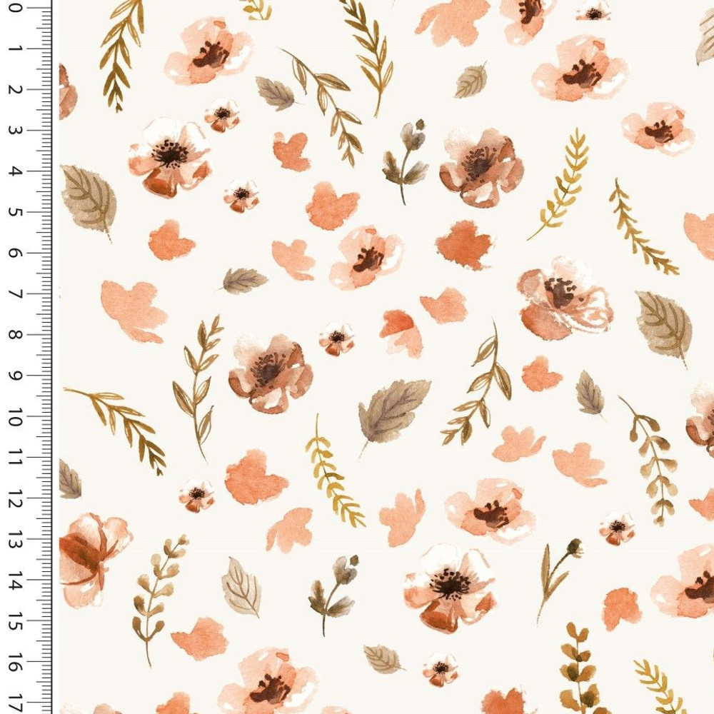 Fall Floral on Ivory French Terry