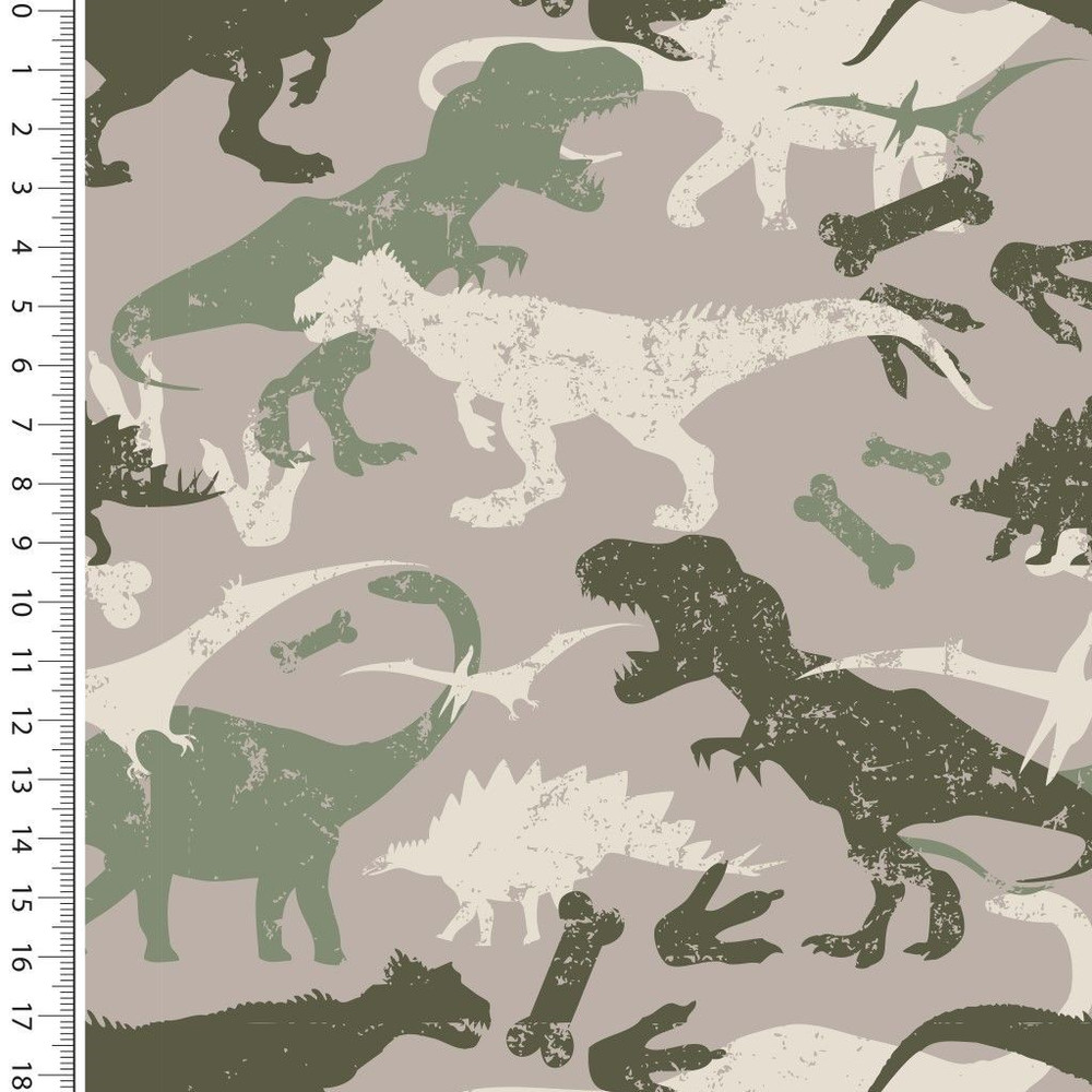 Dinosaurs on Taupe Brushed French Terry