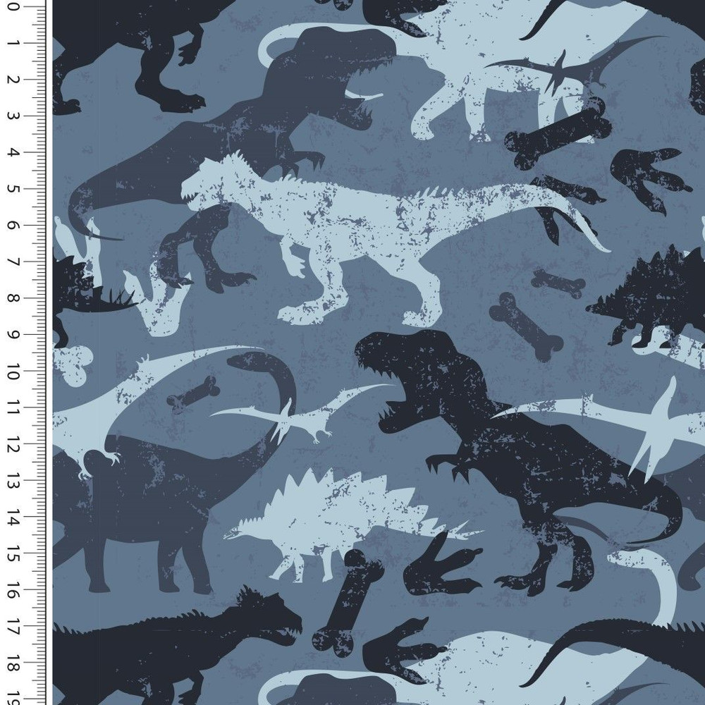 Dinosaurs on Blue Brushed French Terry