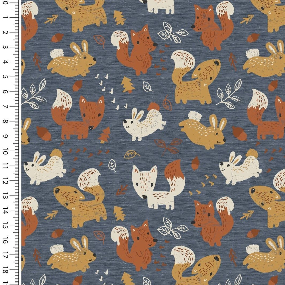 Foxes & Bunnies on Denim Melange Brushed French Terry