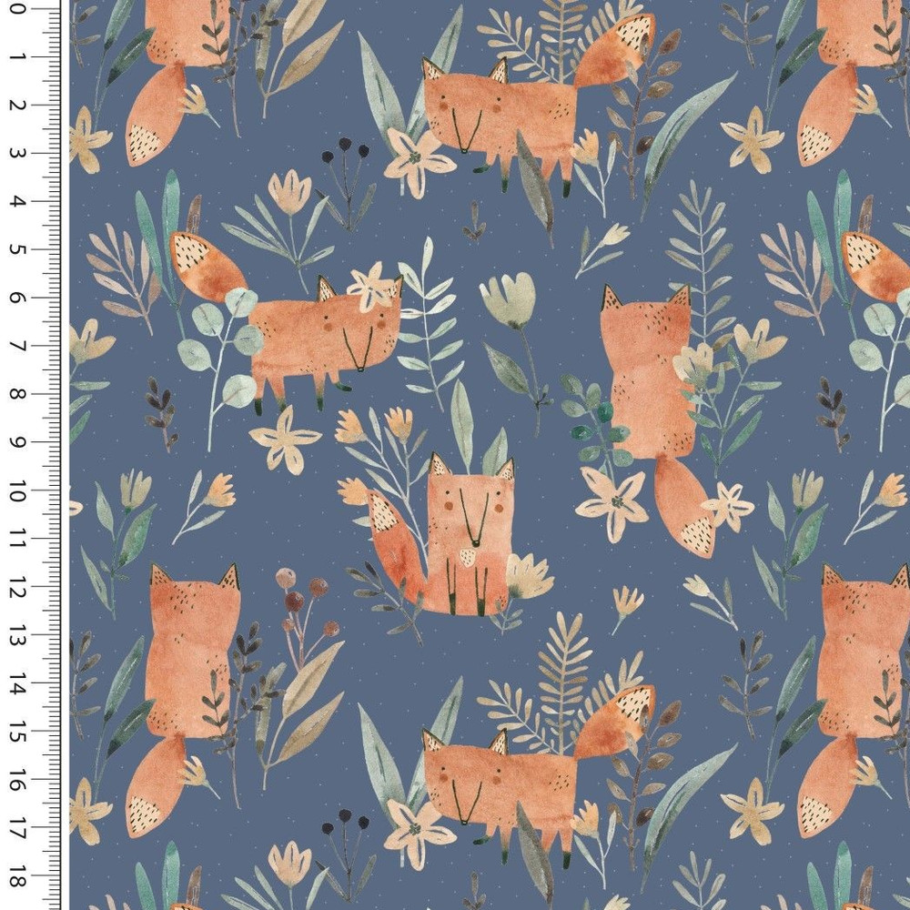 Fox Floral on Blue French Terry