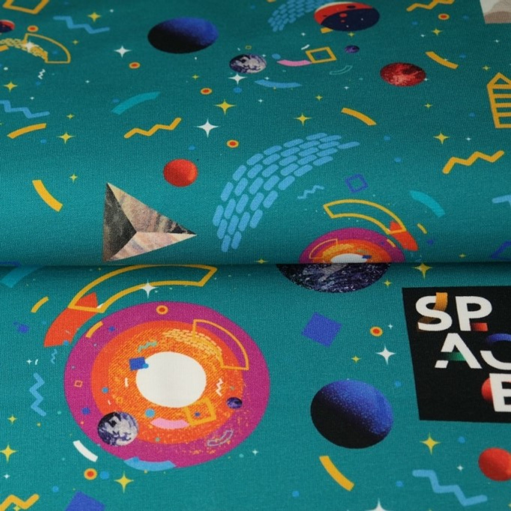 Retro Space on Teal French Terry