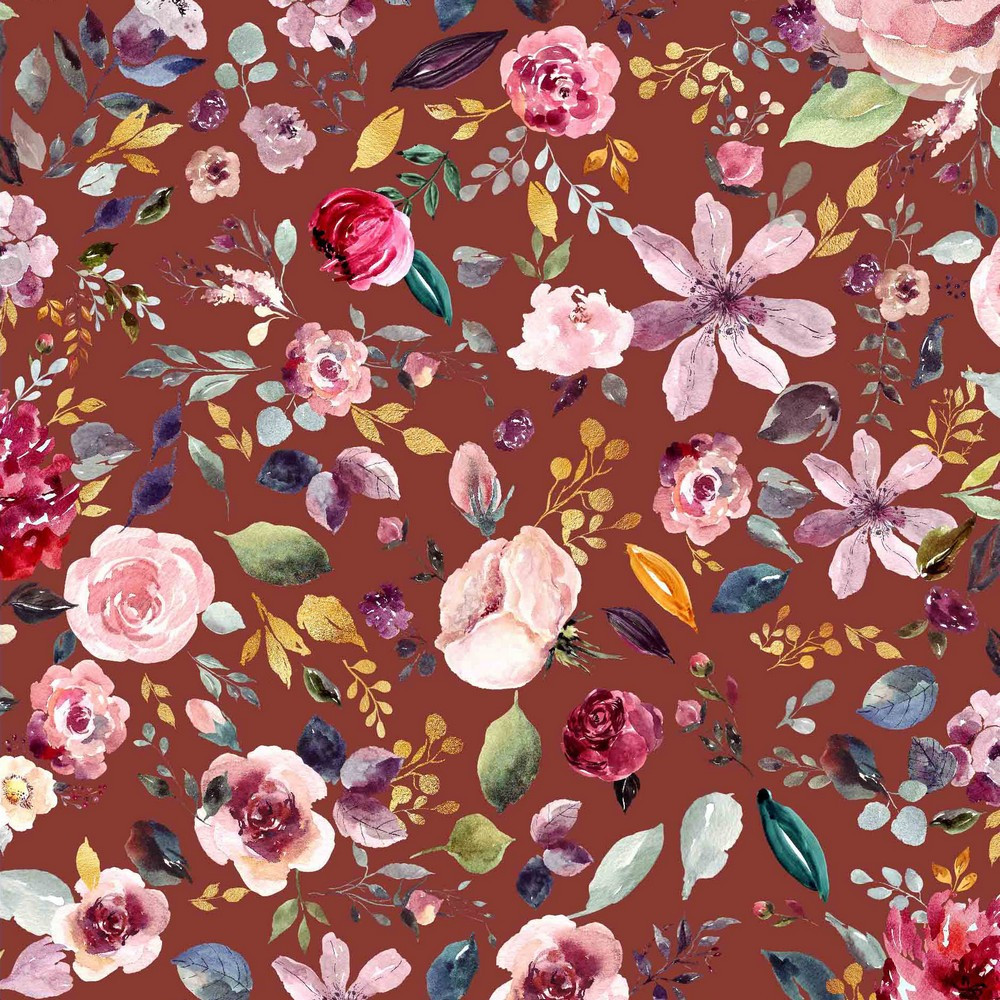 Painted Flowers on Rust Organic Cotton Lycra Knit