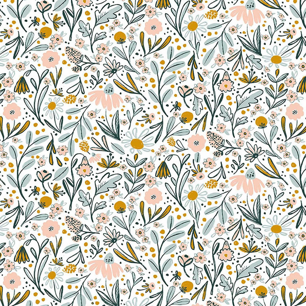 Dear Stella Ditsy on White Quilting Cotton
