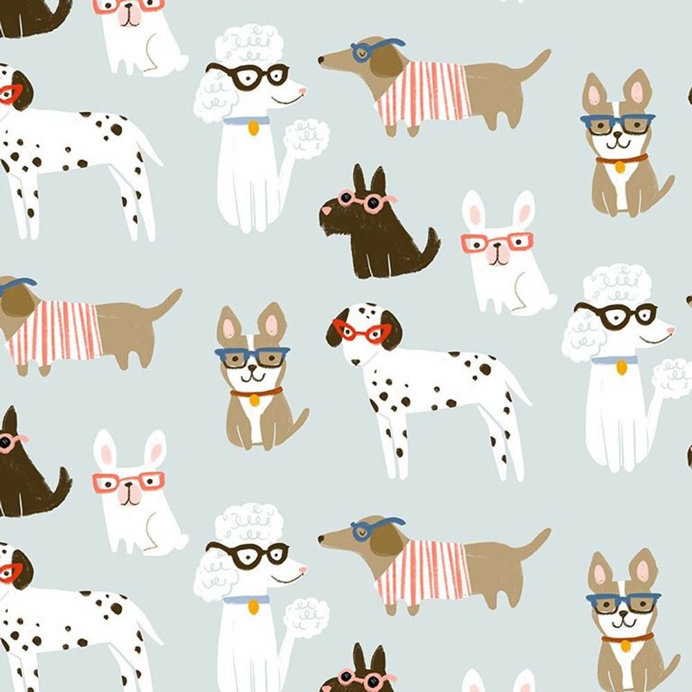 Dear Stella Dogs on Blue Quilting Cotton