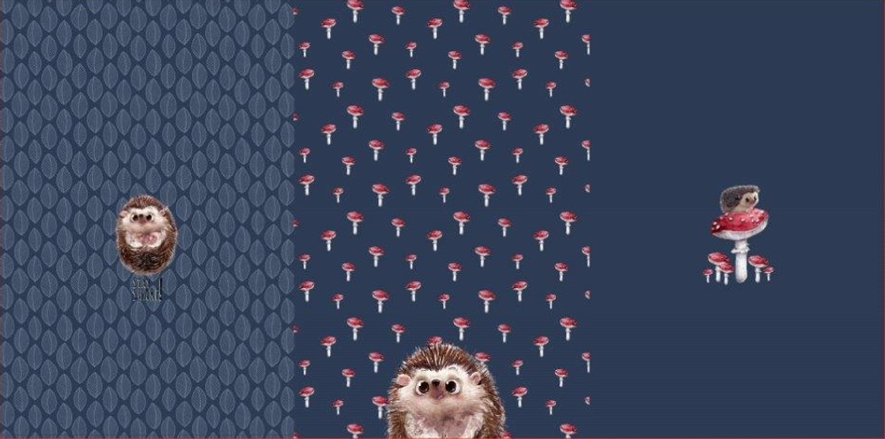 """Hedgehogs & Mushrooms French Terry 29"""" Panel Set"""