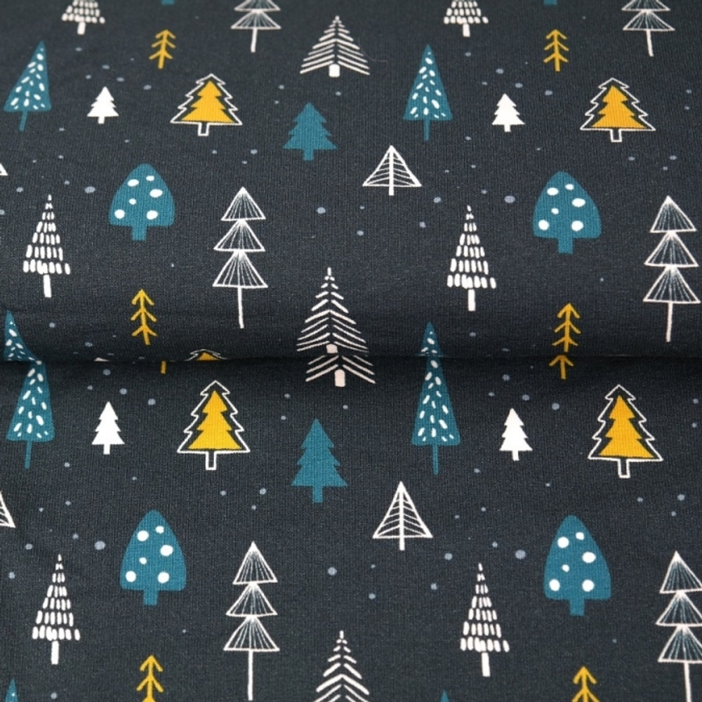 Pine Trees on Navy French Terry