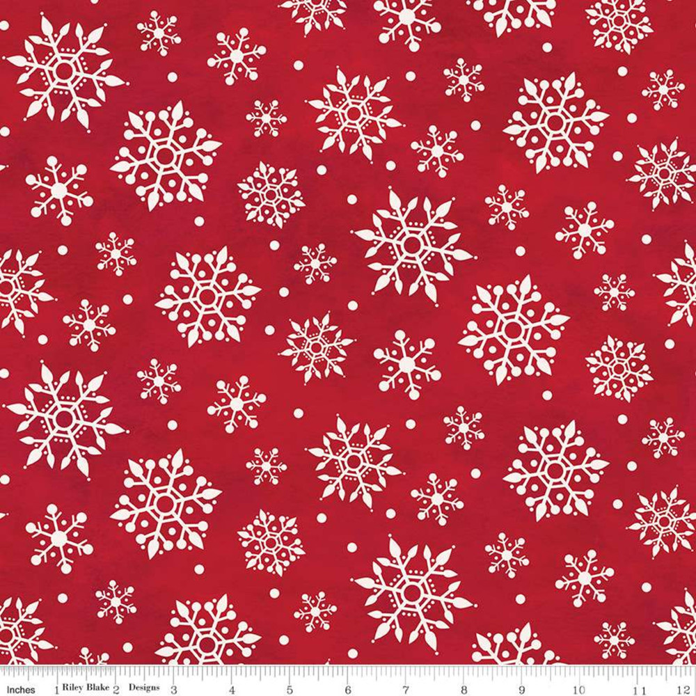 Riley Blake Snowflakes on Red Flannel