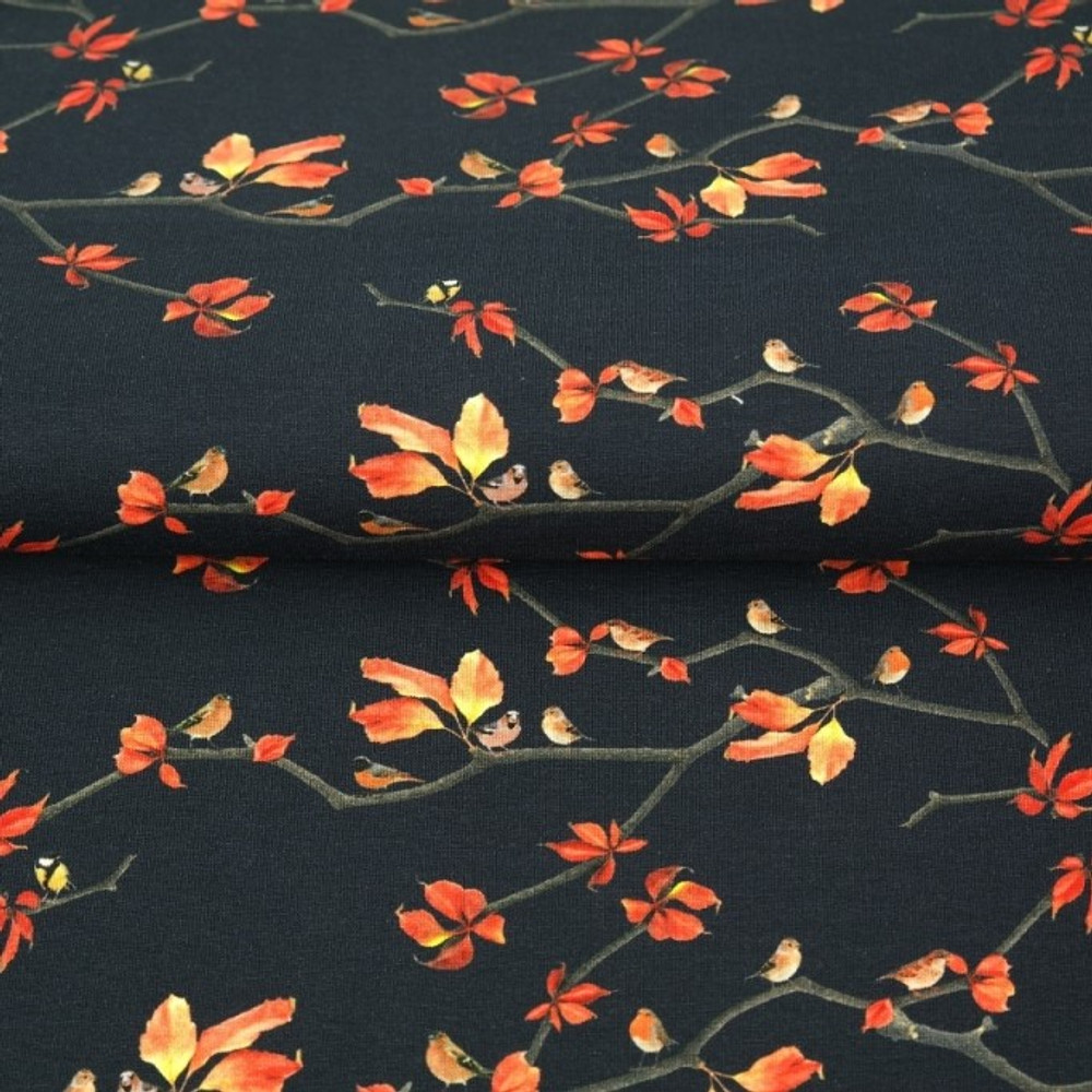 Fall Leaves on Navy Cotton Lycra