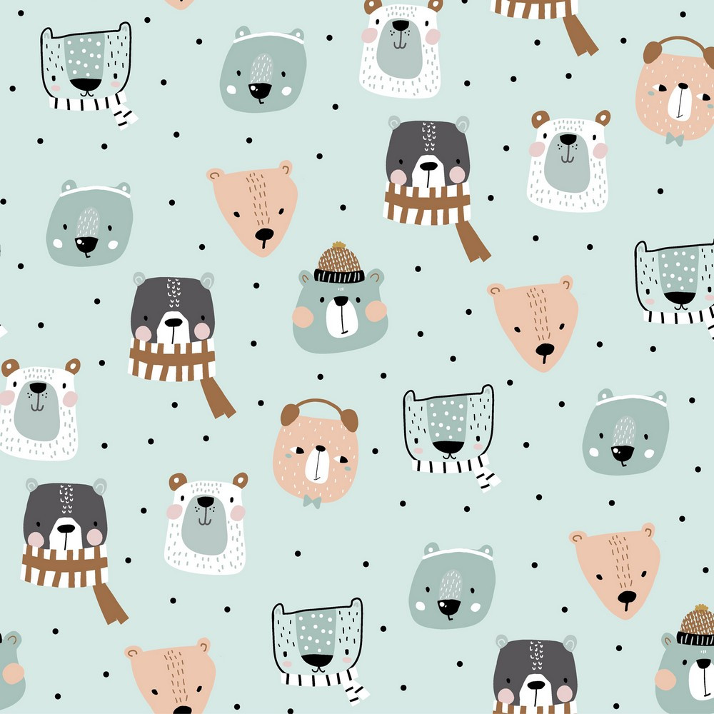 Winter Animals on Mint French Terry Knit