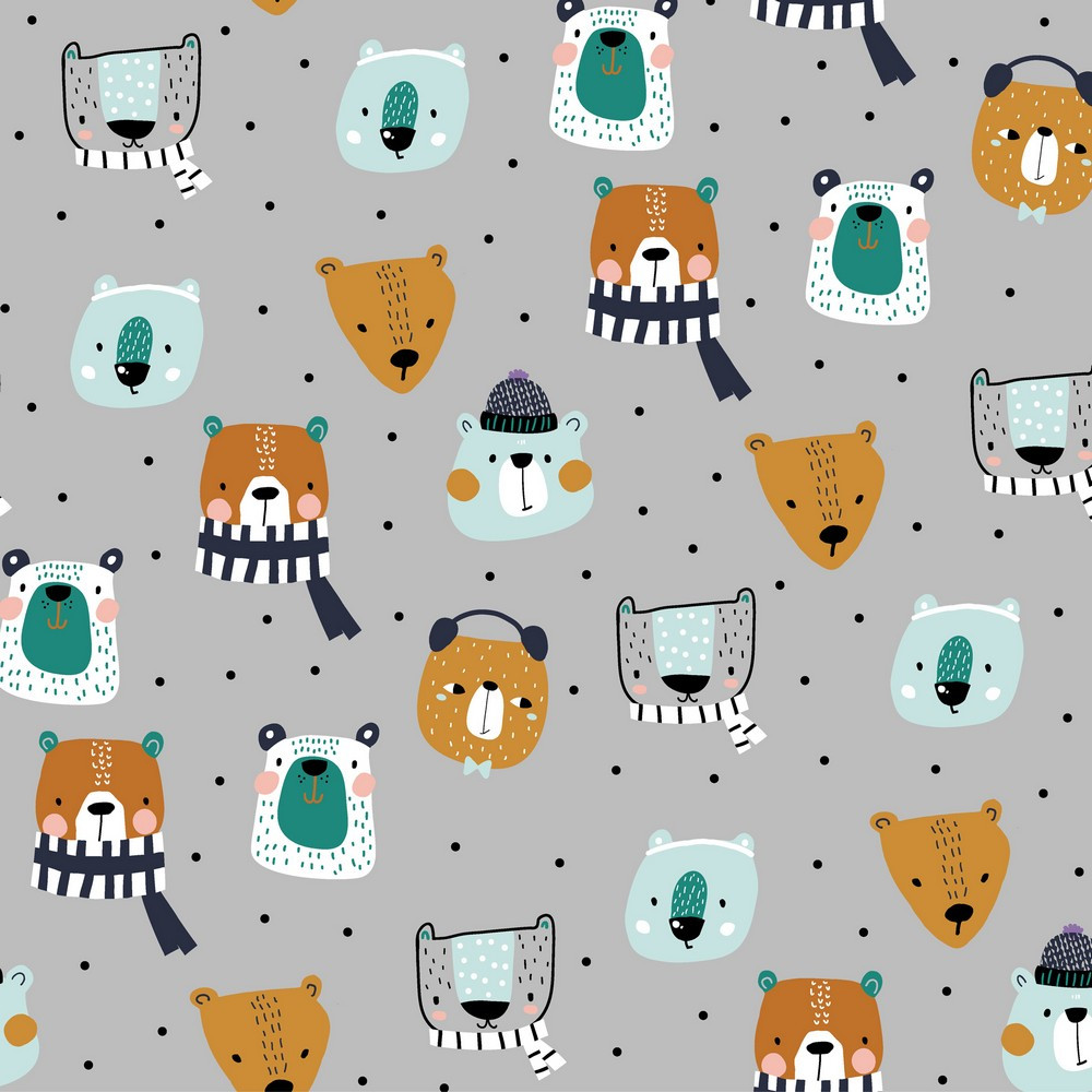 Winter Animals on Gray French Terry Knit