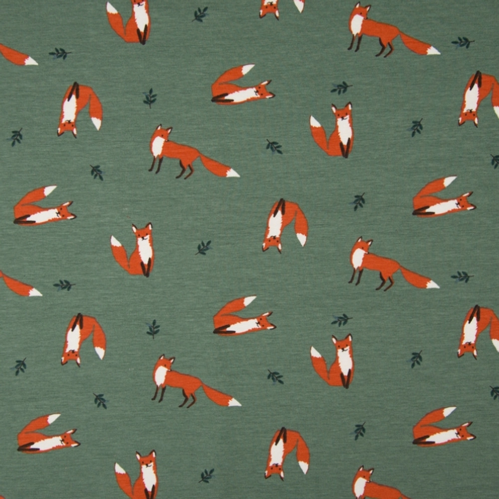Little Foxes on Old Green Cotton Lycra