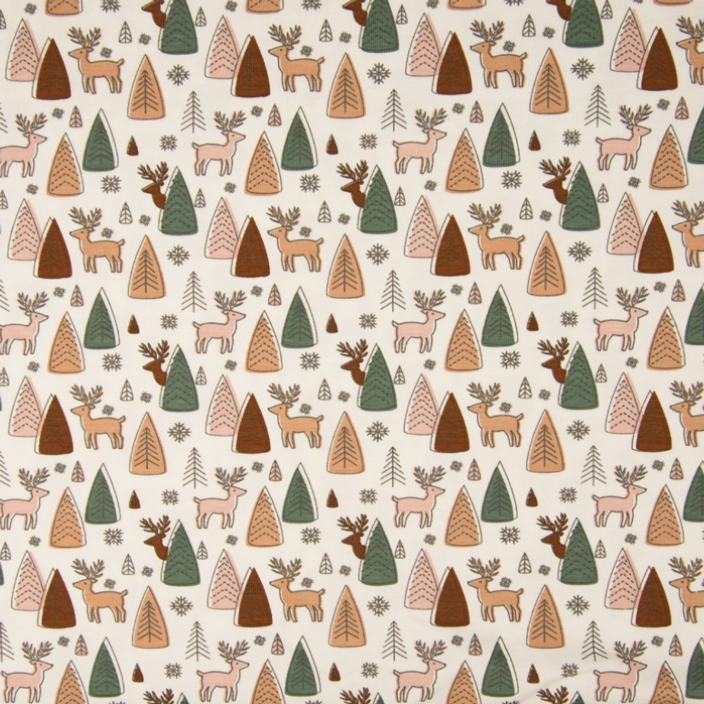 Deer in the Forest on Ivory Cotton Lycra
