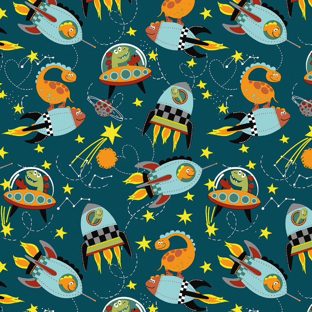 Stof France Space Dinosaurs on Dark Teal Cotton Lycra