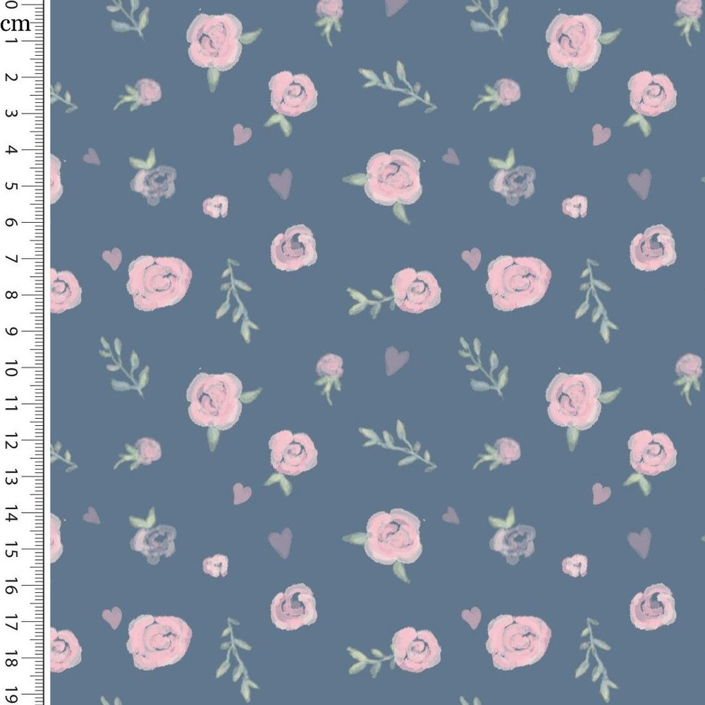 Sweet Roses on Blue Cotton Lycra