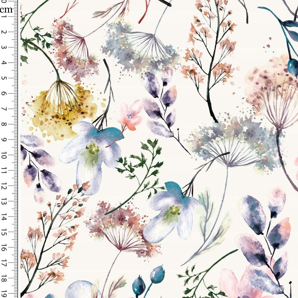 Dreaming Dandelions on Ivory Cotton Lycra