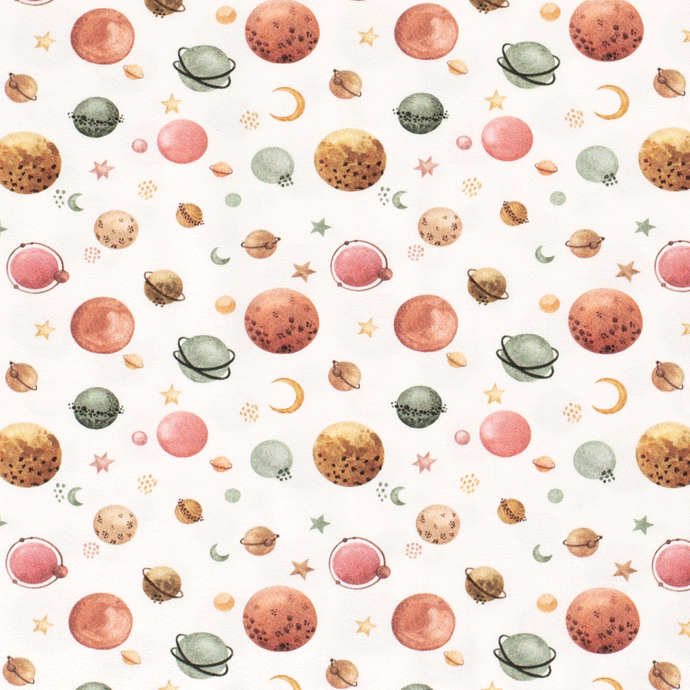 Watercolor Planets on Ivory Cotton Lycra