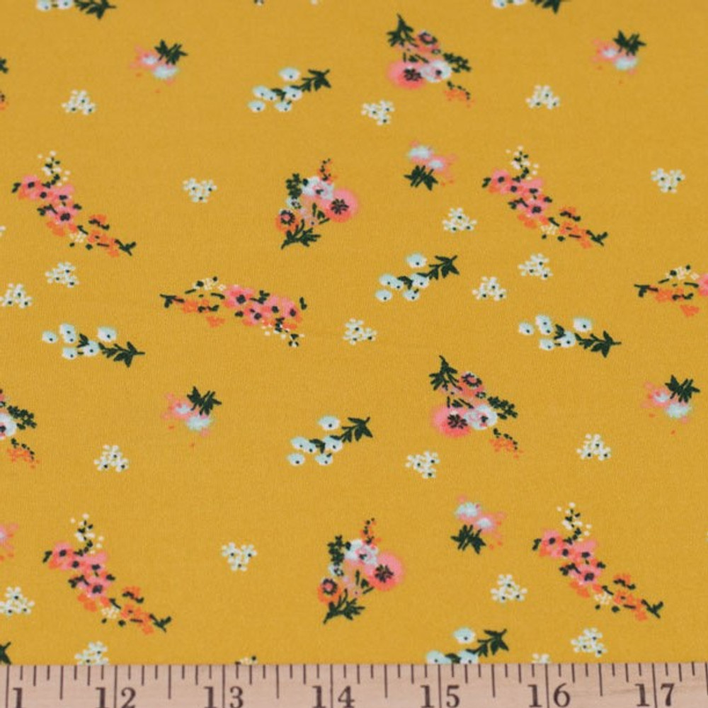 Ditsy Coral Floral on Mustard Double Brushed Poly