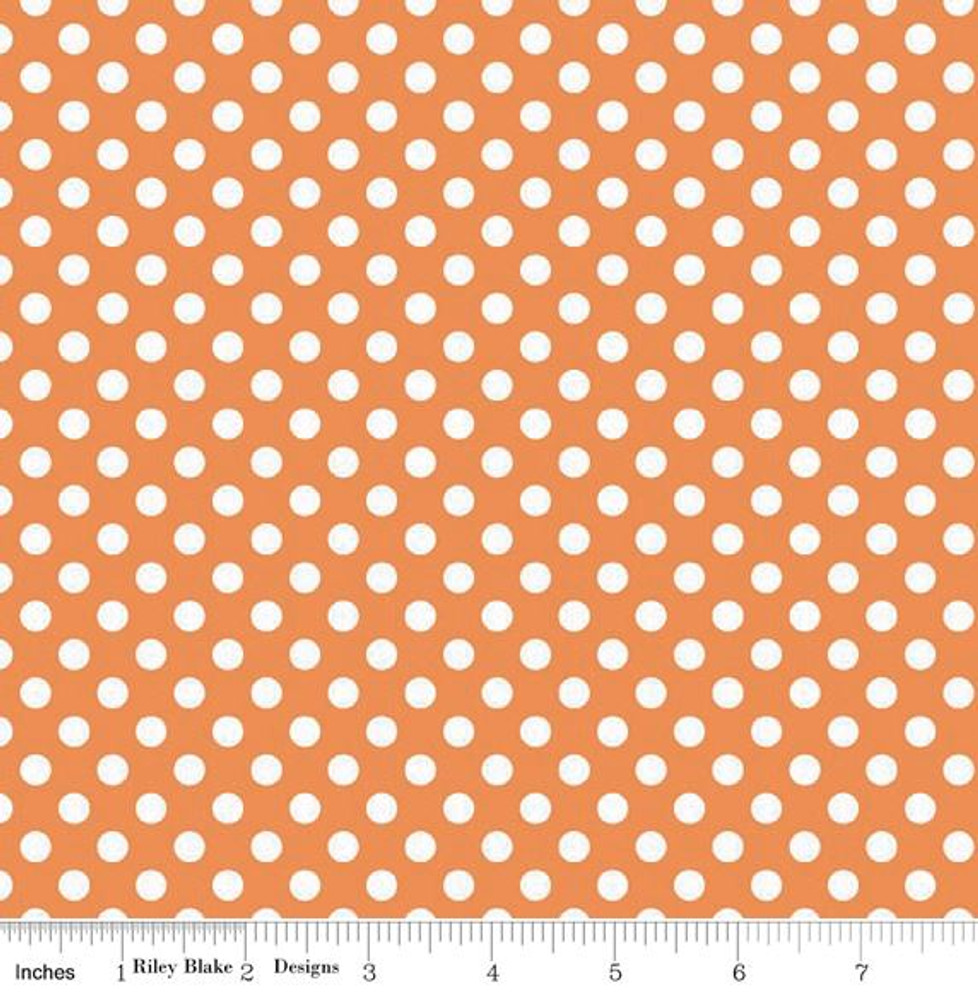 "Riley Blake 1/4"" Polka Dot Knit- Orange"