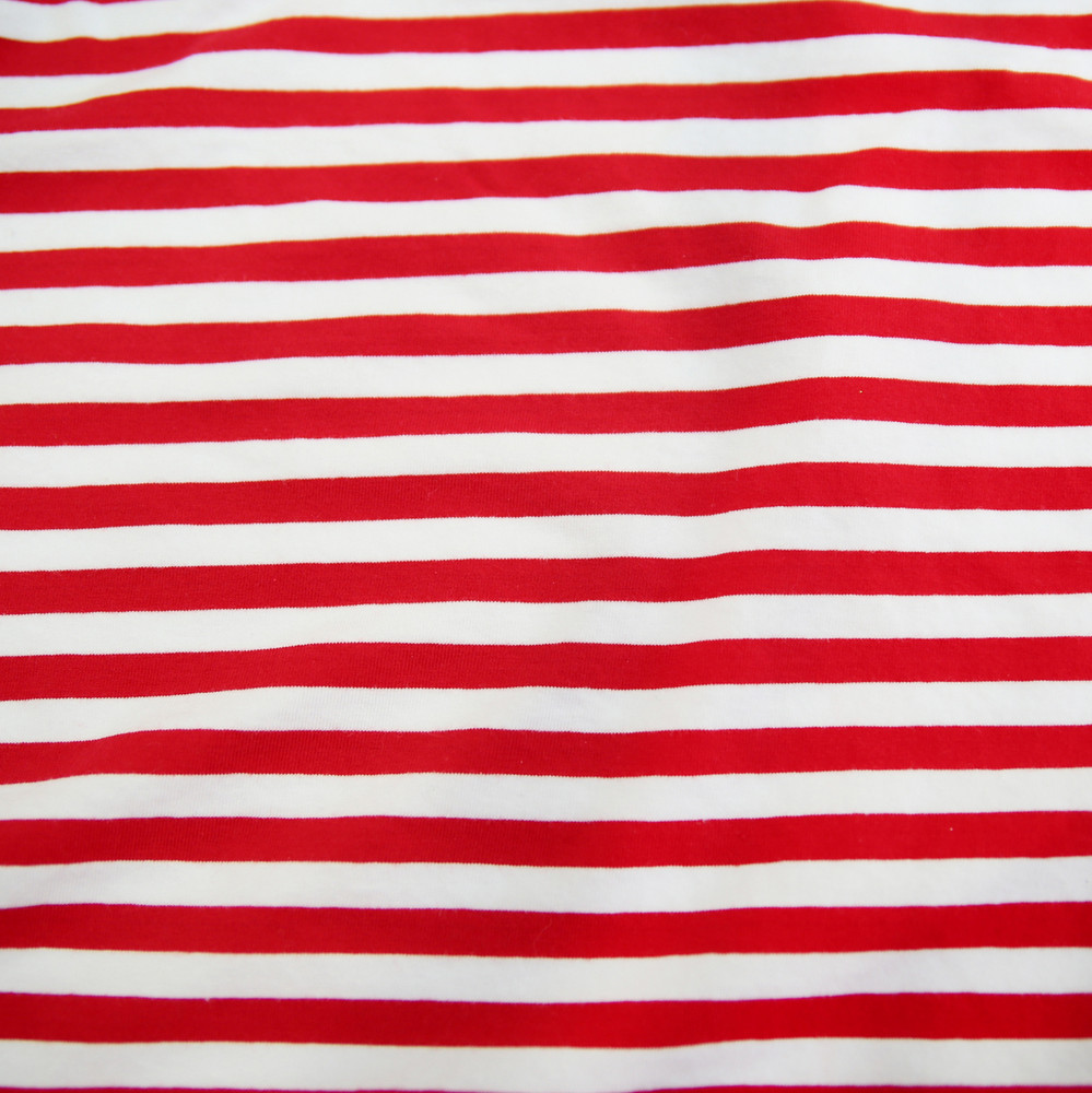 yarn dyed red and white striped knit fabric
