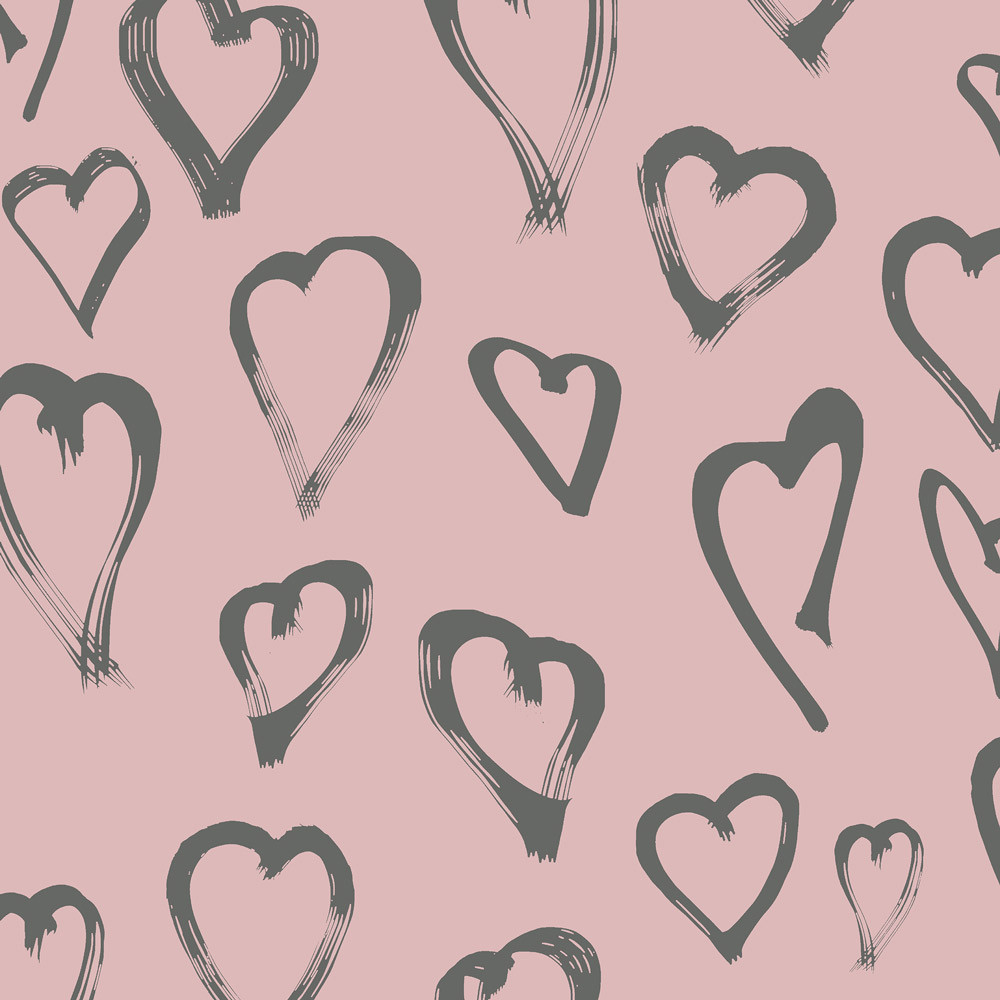 gray hearts on pink