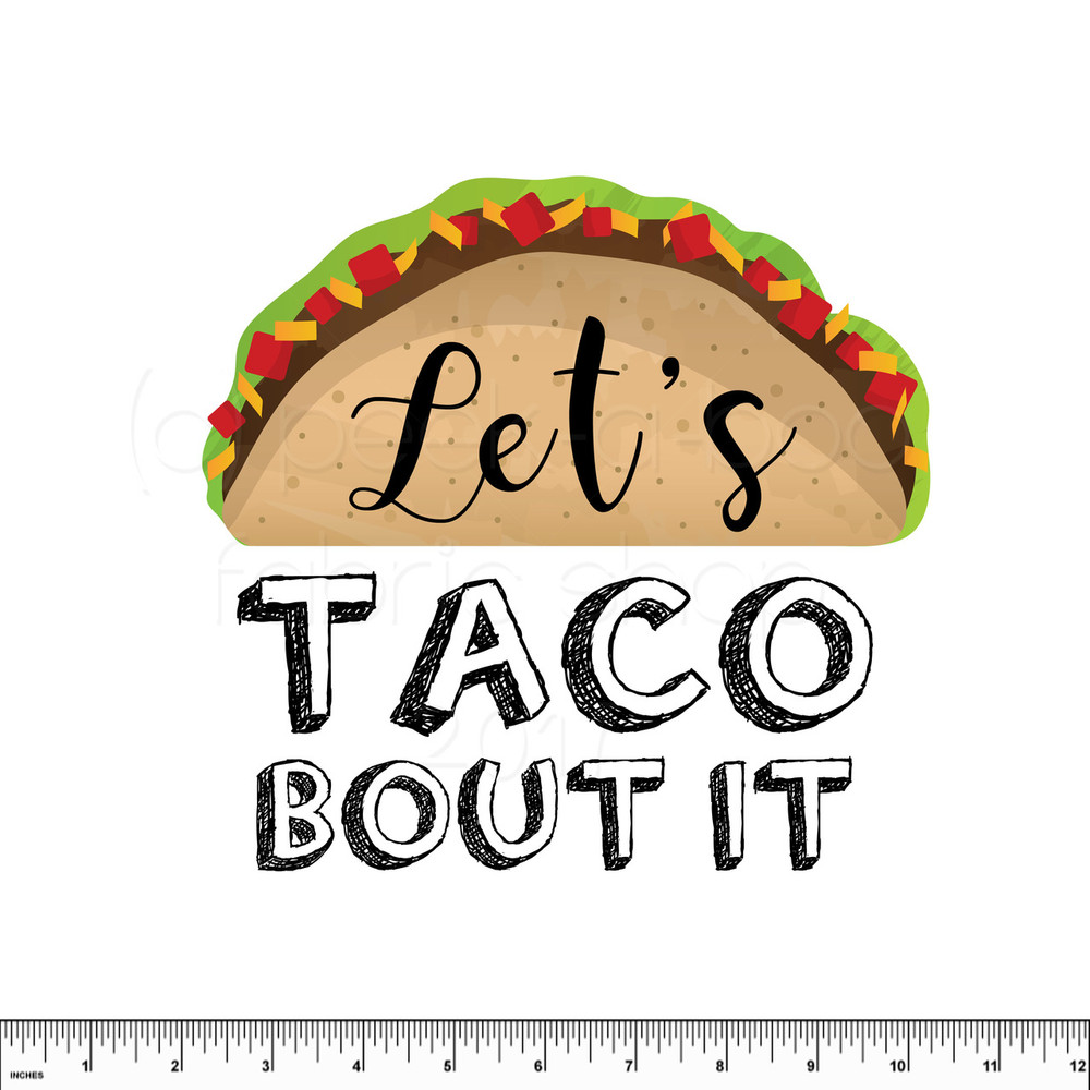 Let's Taco Bout It Cotton Lycra Panel in White- Adult