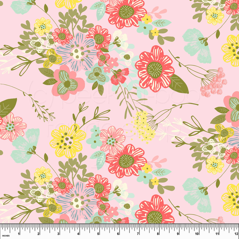 Custom Spring Floral Cotton  Lycra