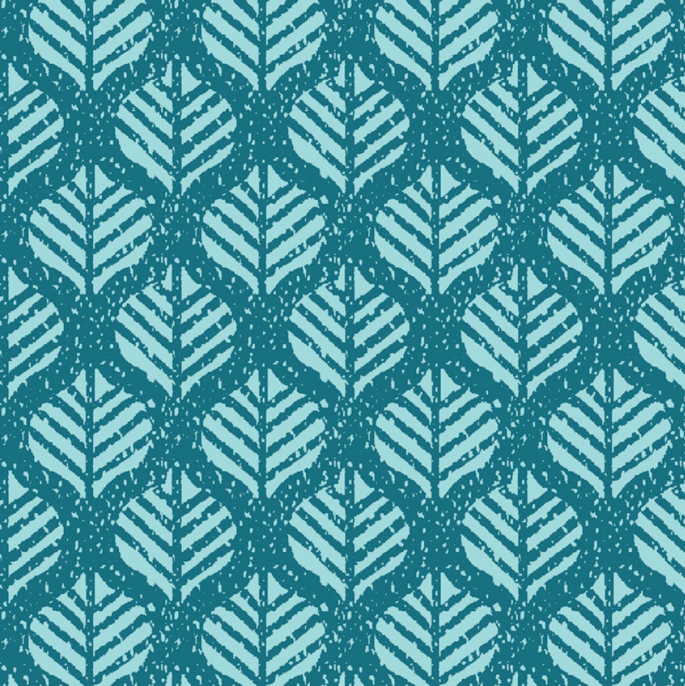 Blue leaves knit fabric