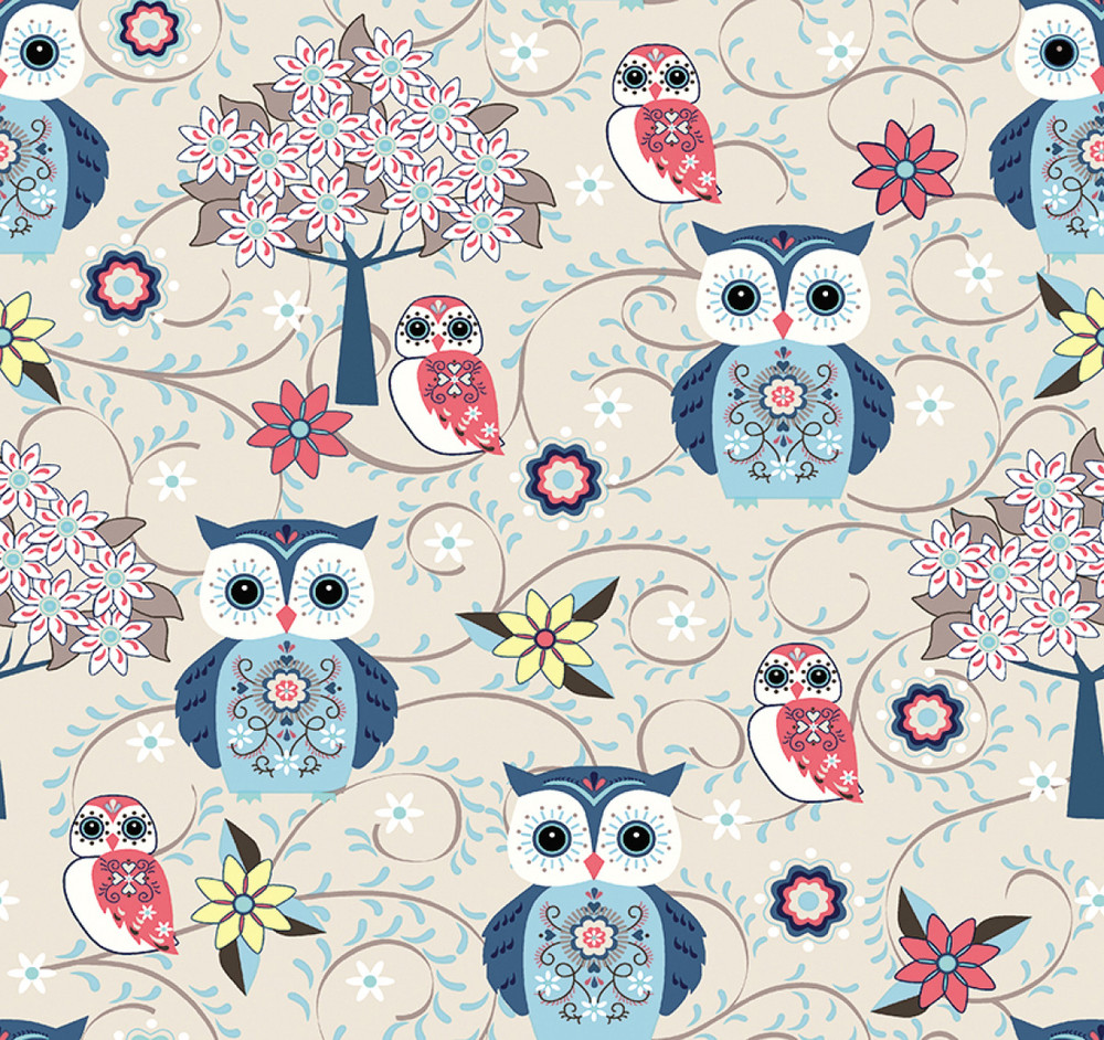 owls in blue stof france