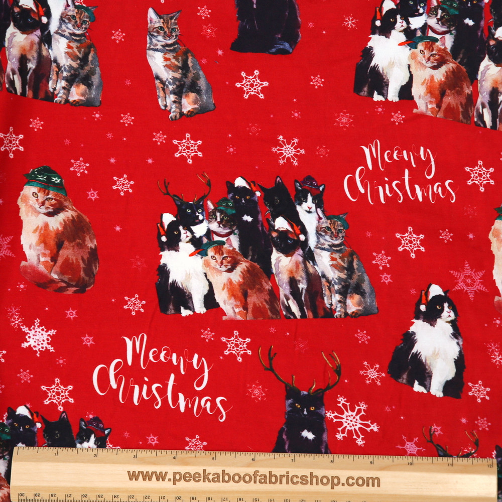 Christmas cats knit fabric