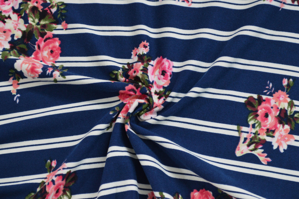 striped rose bouquet on navy
