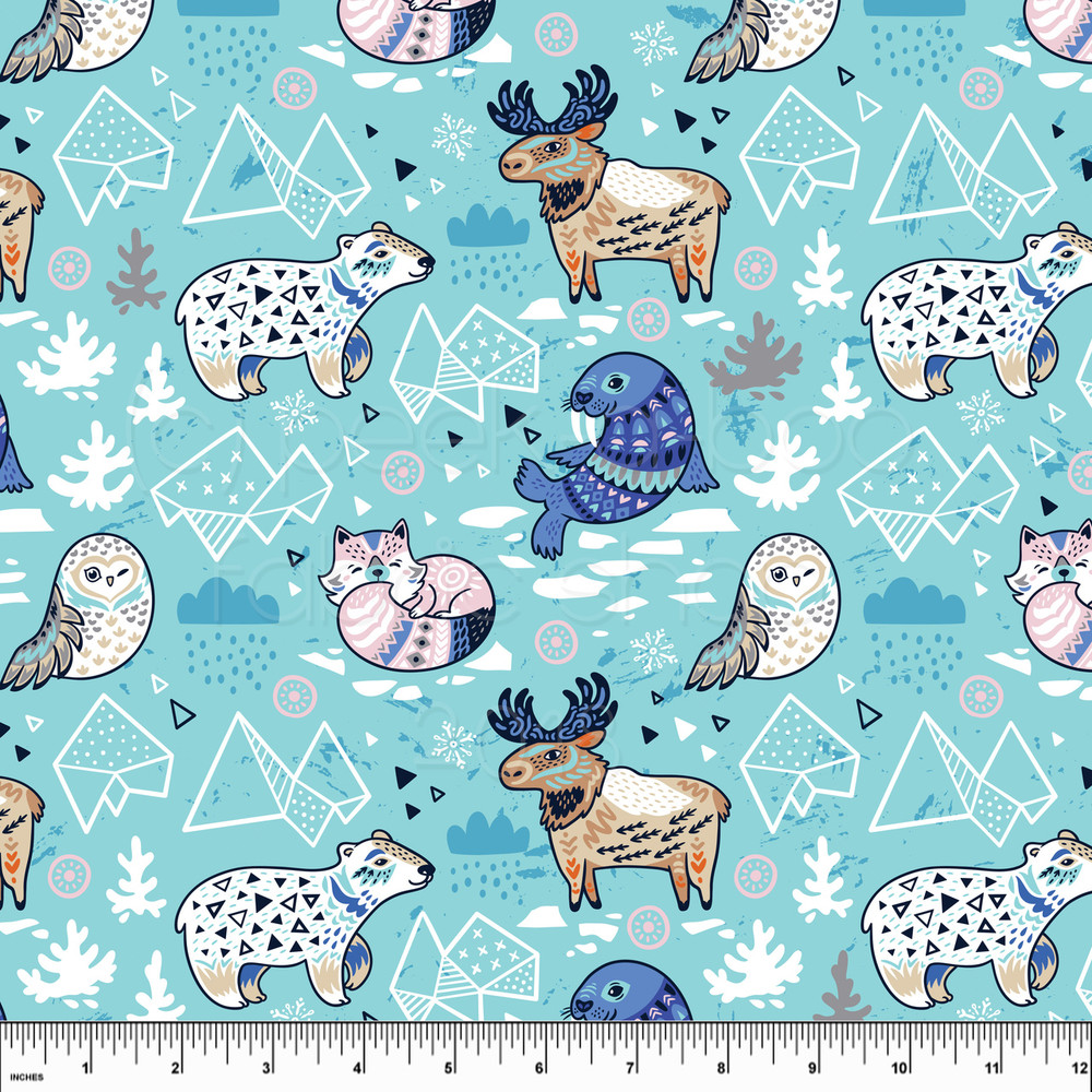 Arctic animals knit fabric