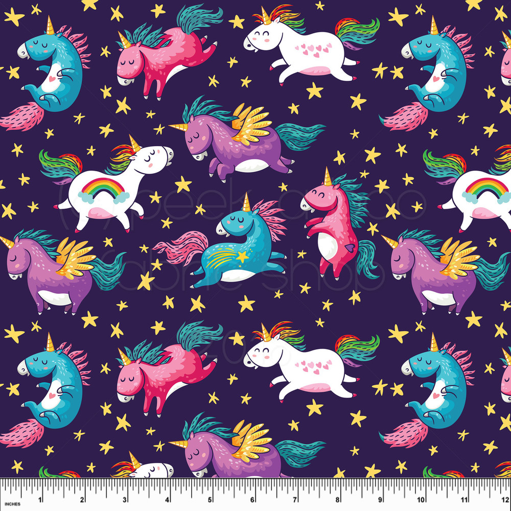 Unicorns knit fabric