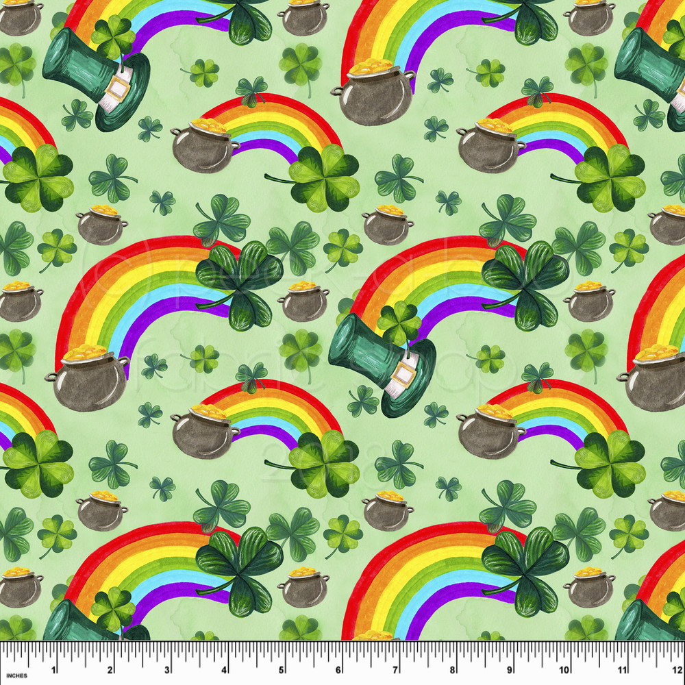 St. Patrick's Day knit fabric. Pot of gold and rainbows