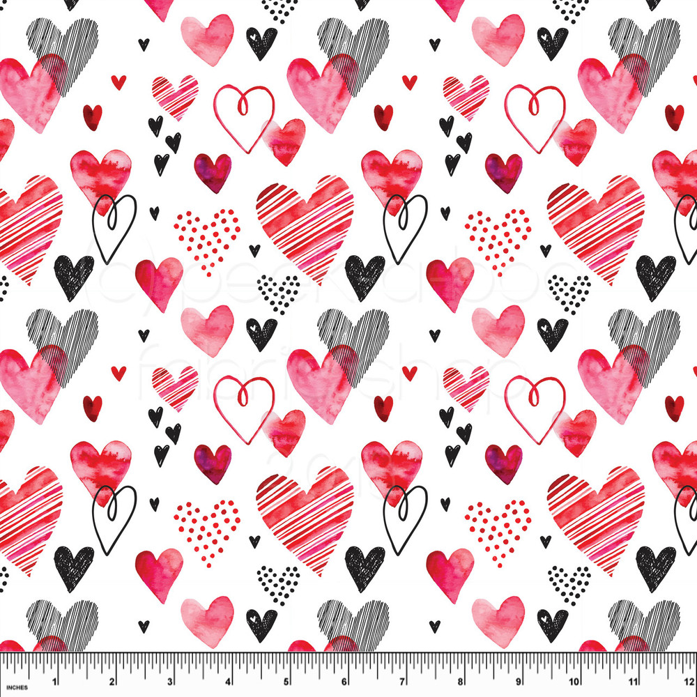 Valentine's Day hearts knit fabric