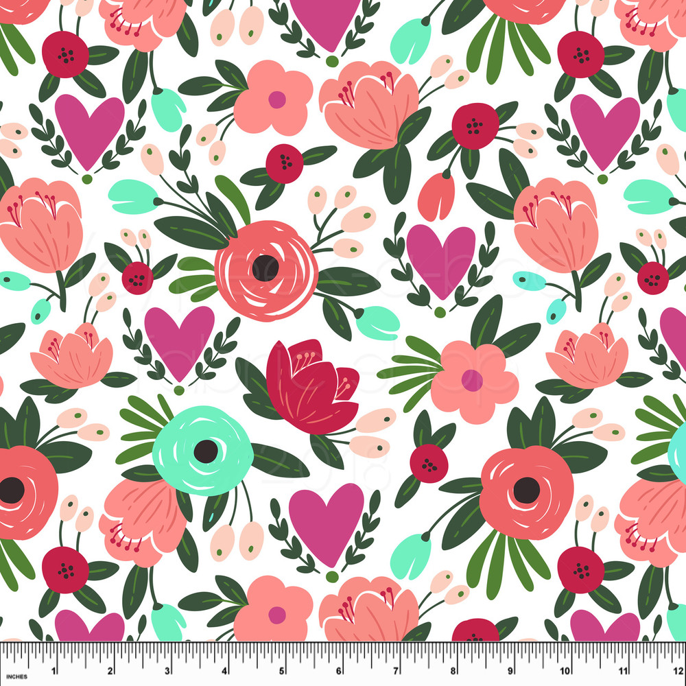 Floral hearts knit fabric
