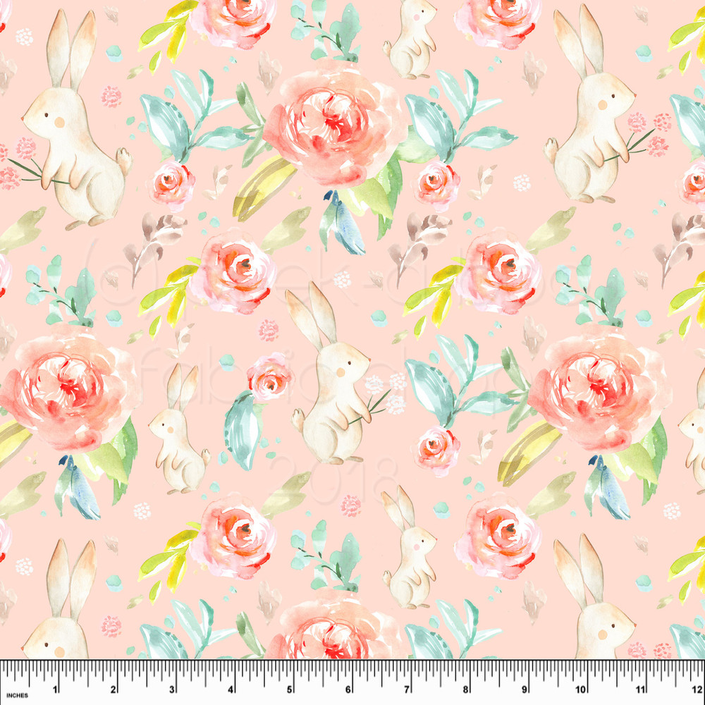 Easter bunny floral knit fabric