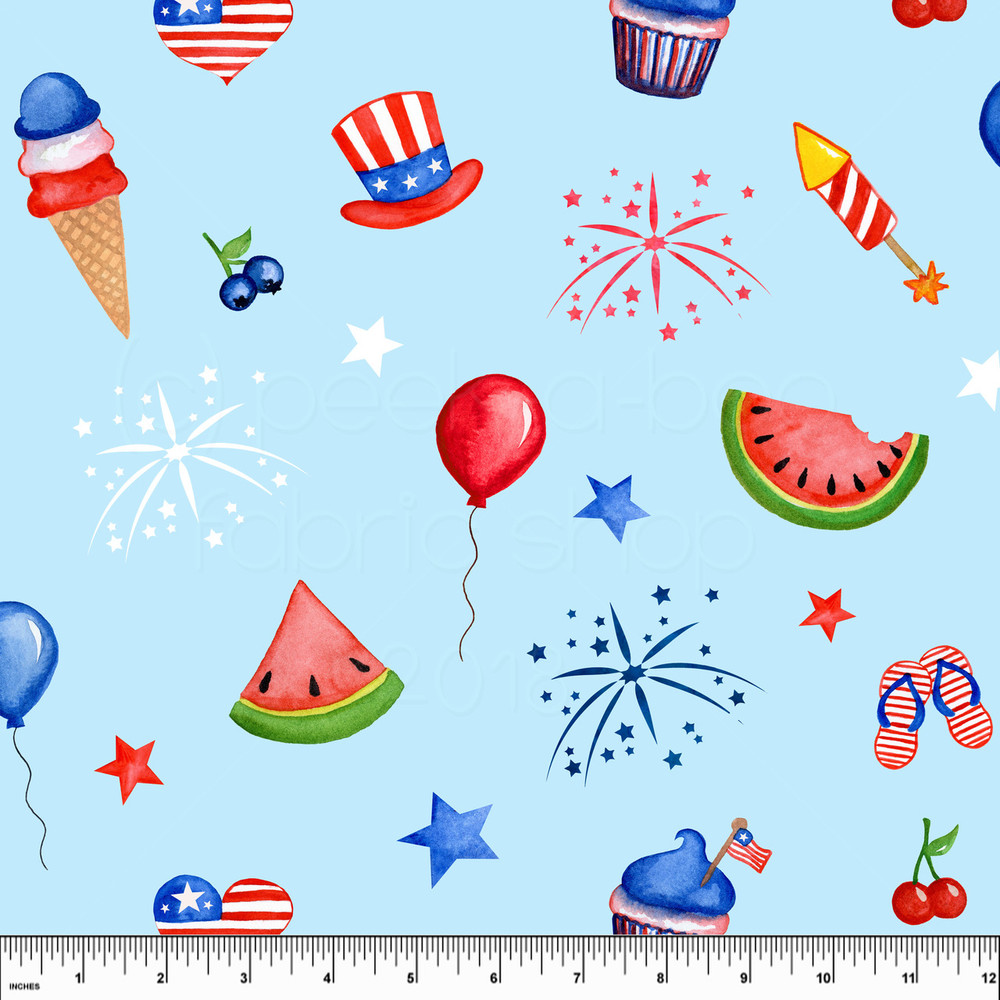 Custom Red, White and Boom 4th of July Cotton Lycra- Largest Cut is 1/2 Yard