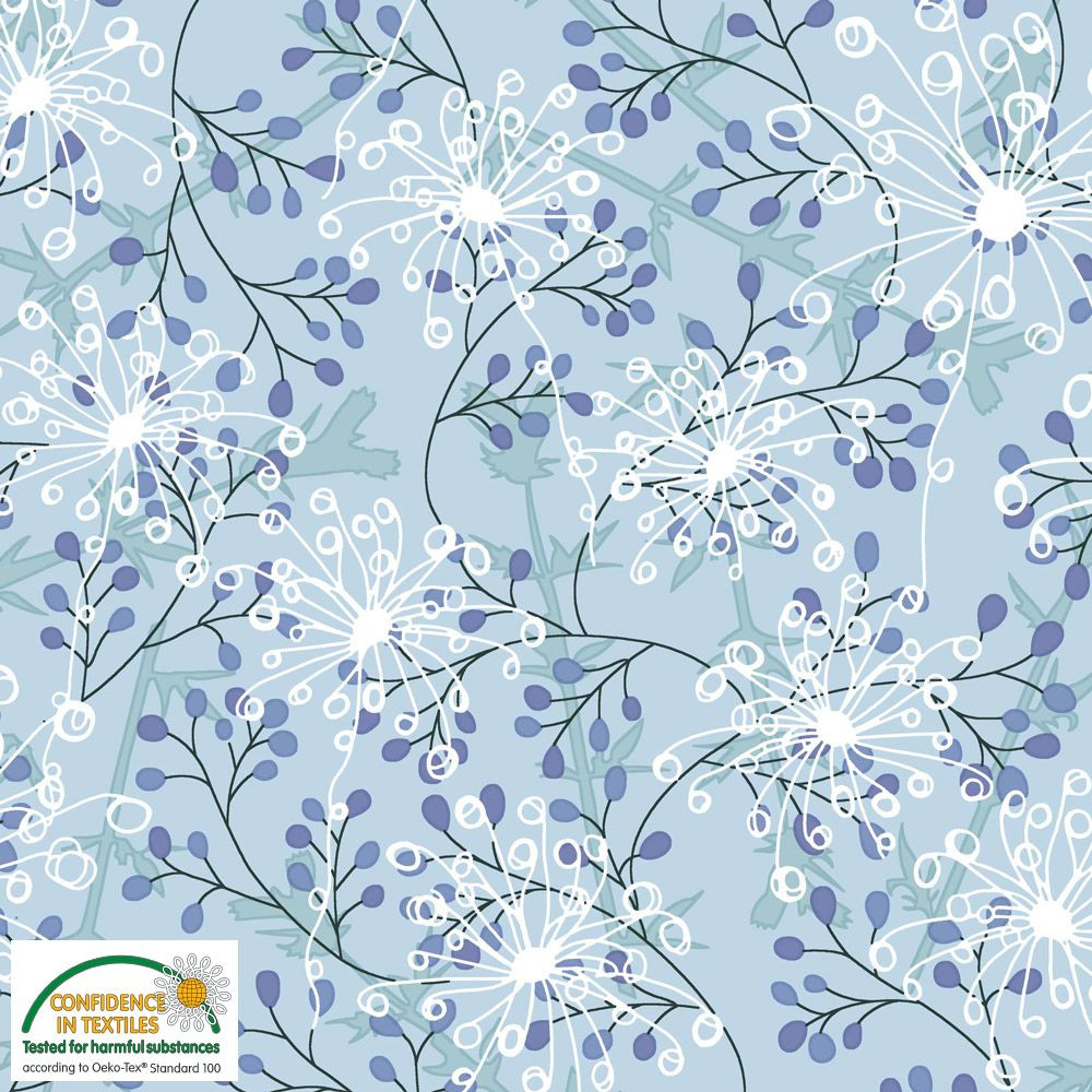 Stof Fabrics Blue and White Floral Knit