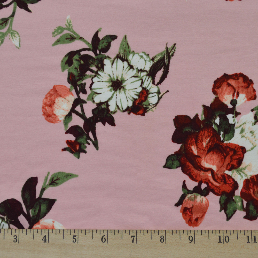 Pink floral double brushed poly