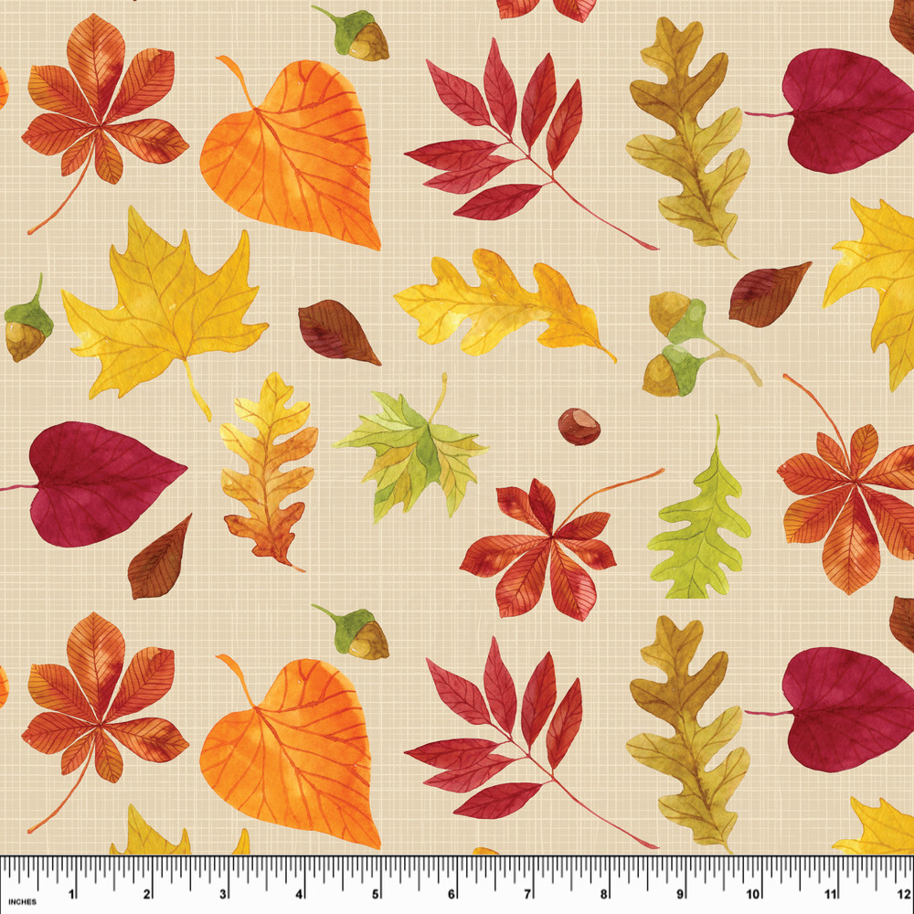 Fall leaves knit fabric