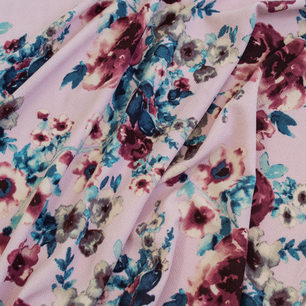 watercolor floral on blush