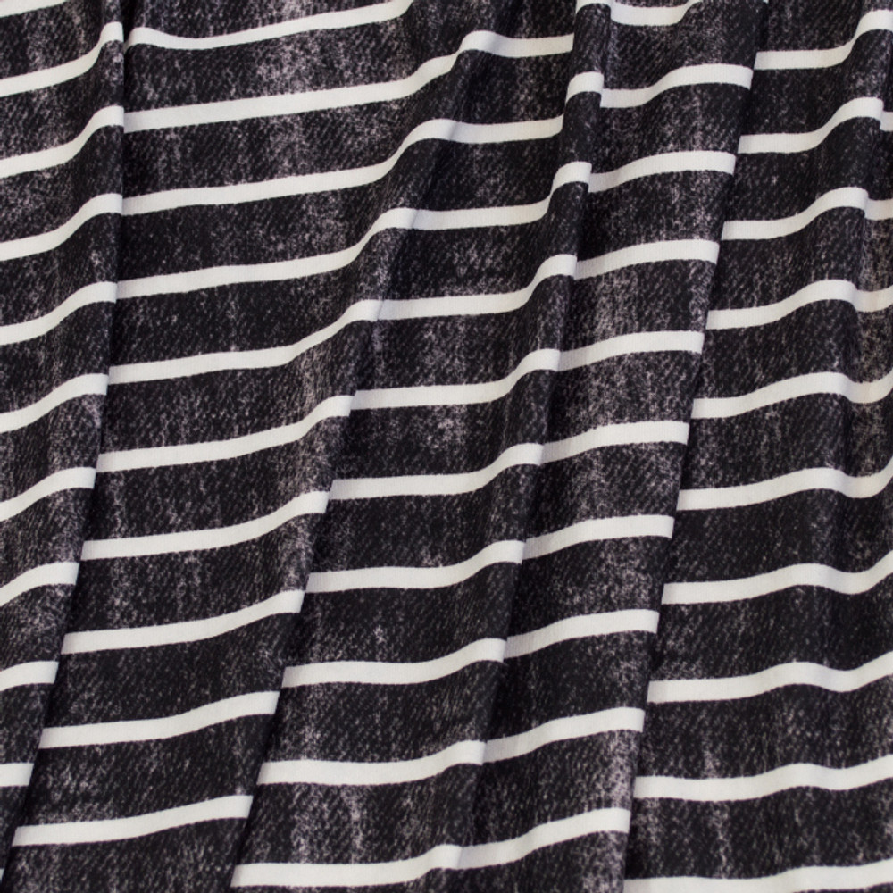 Knit Basics  Grunge Stripes in Black and White Double Brushed Poly