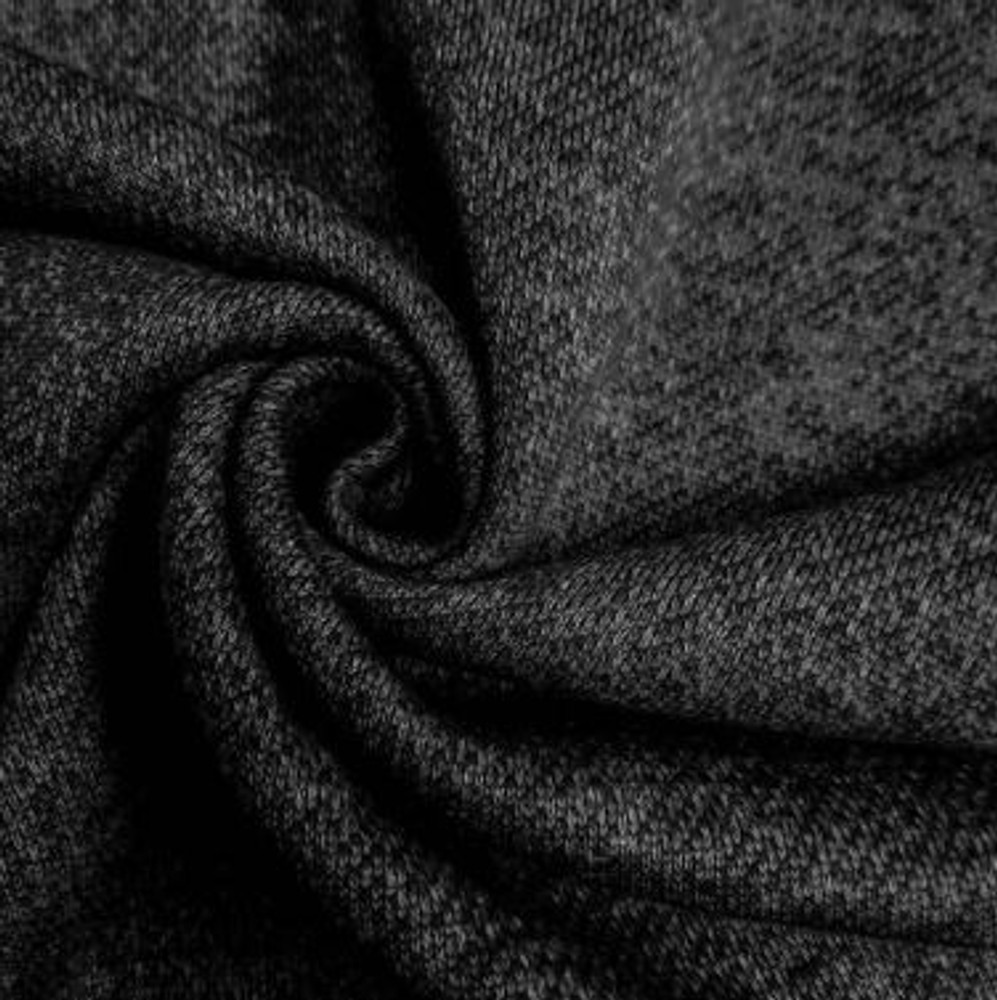 Black french terry brushed fleece