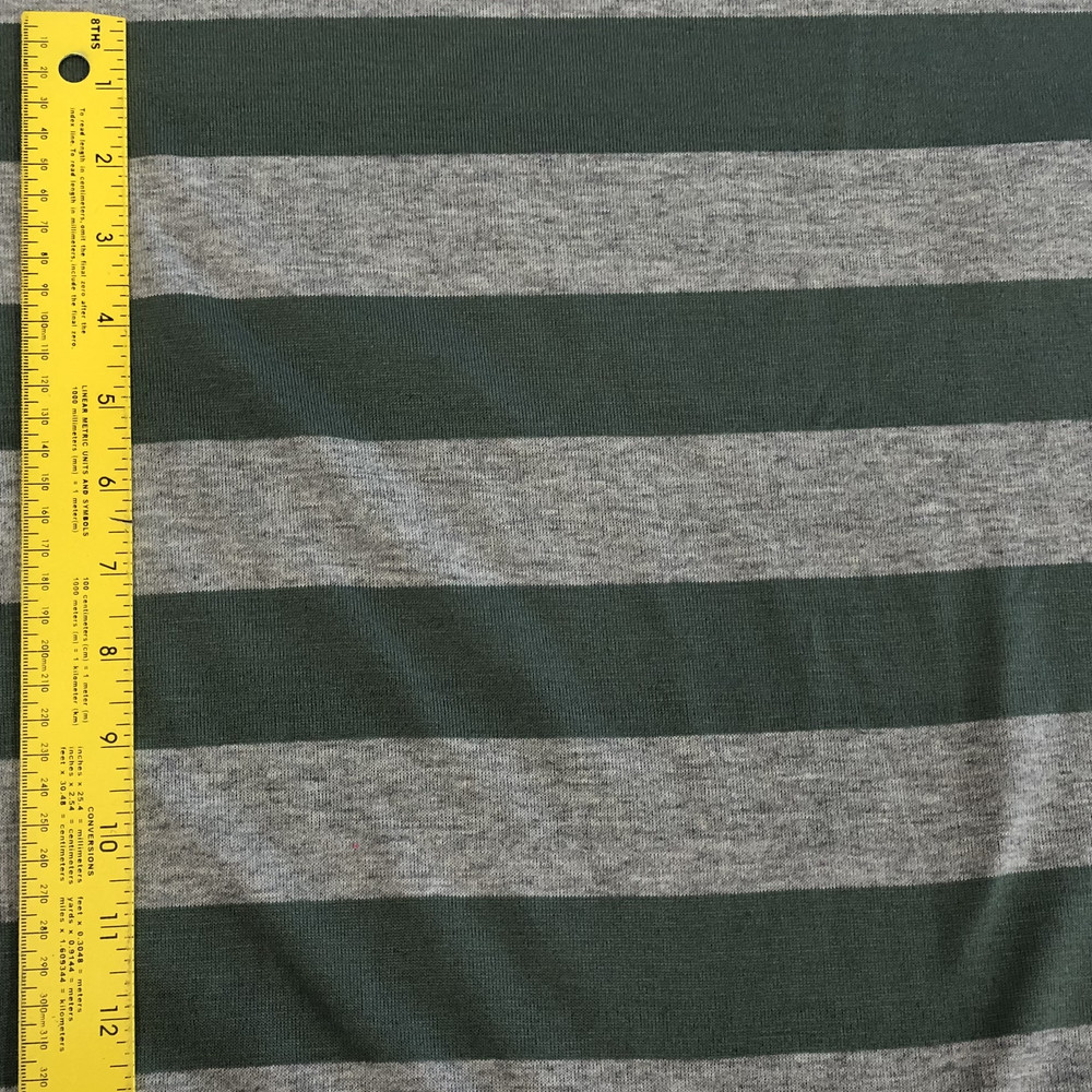 Gray and Green Stripe Jersey Knit