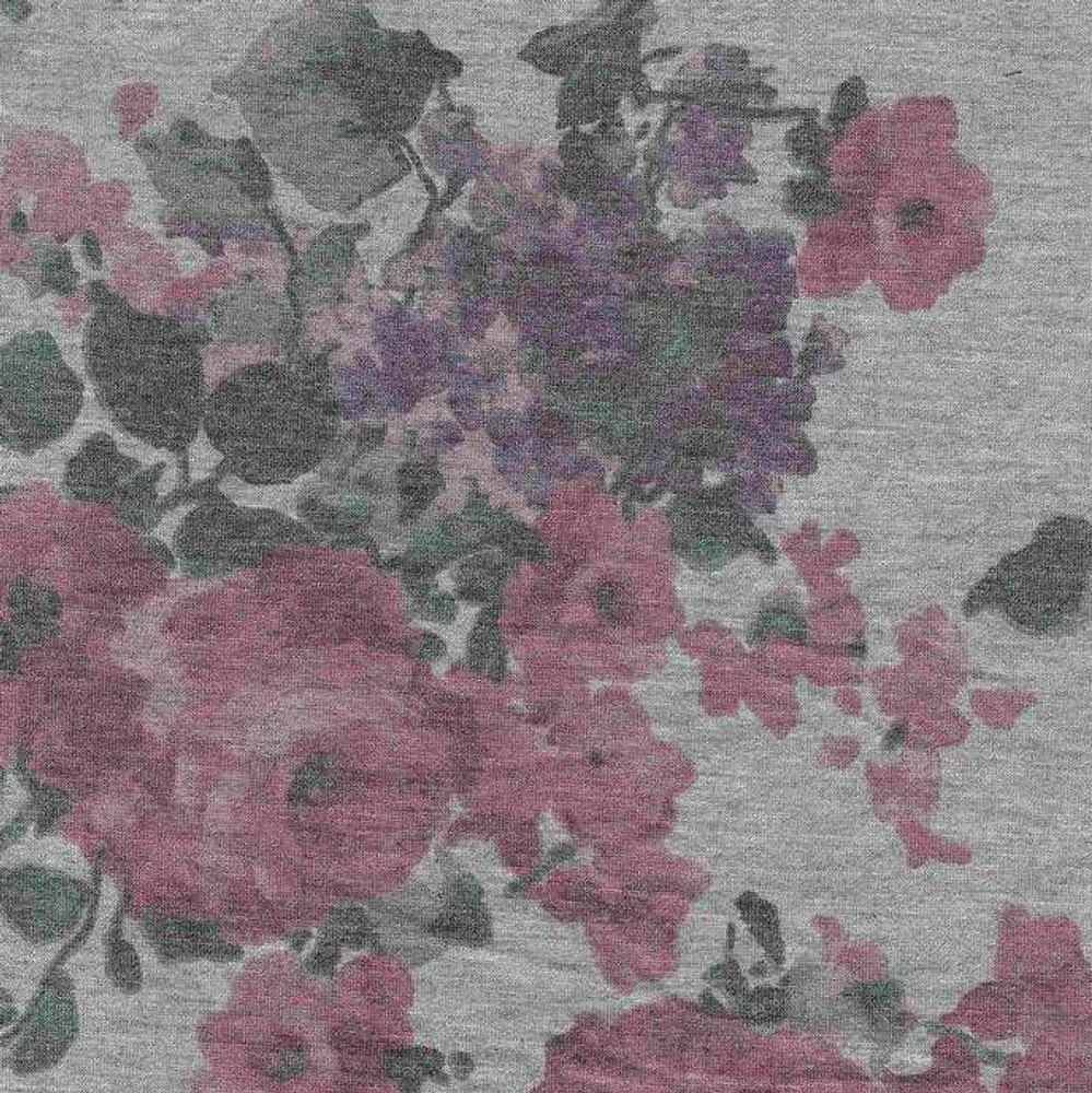 Roses on Heather Gray French Terry