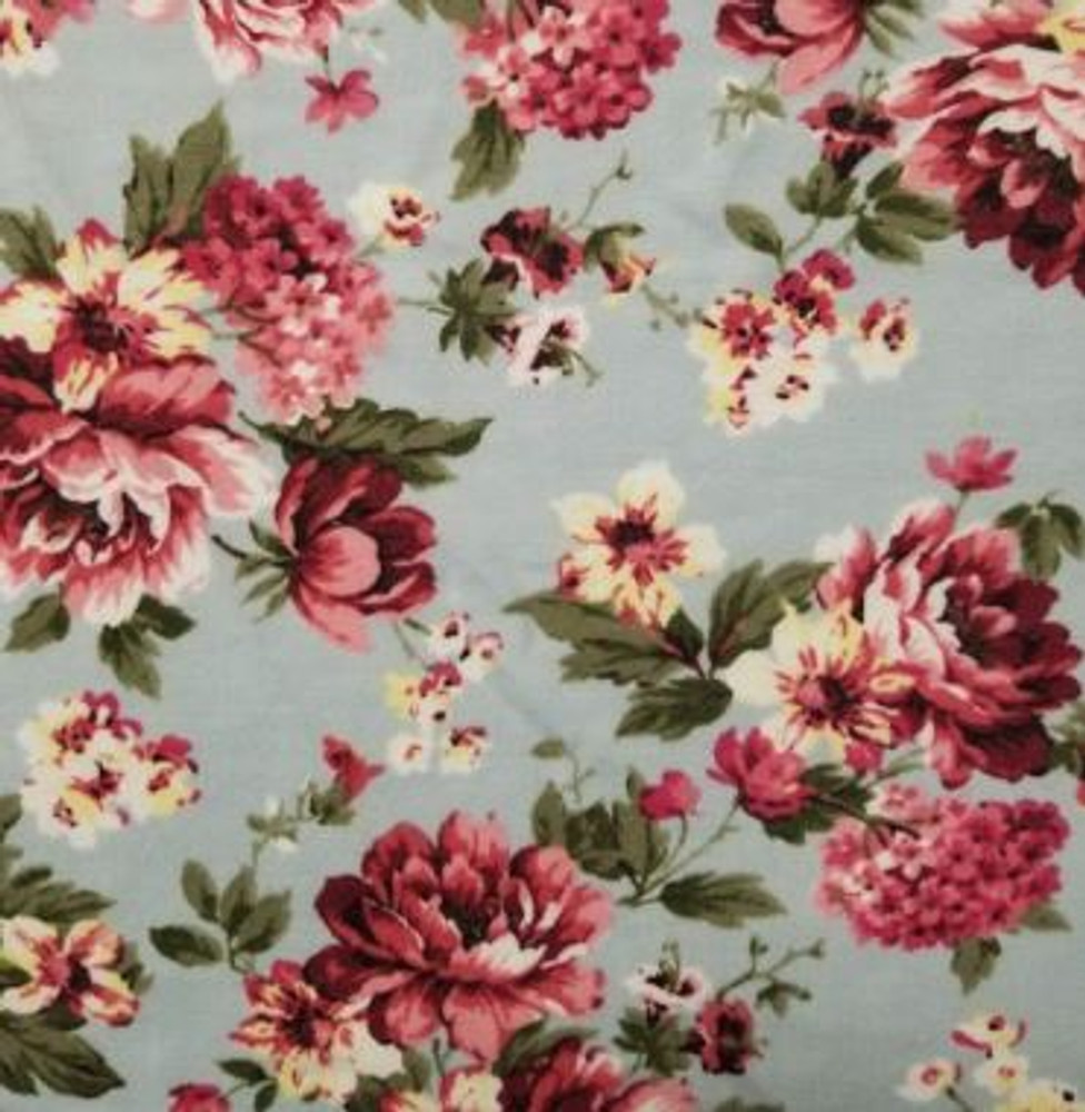 Charlotte Pale Blue Floral French Terry