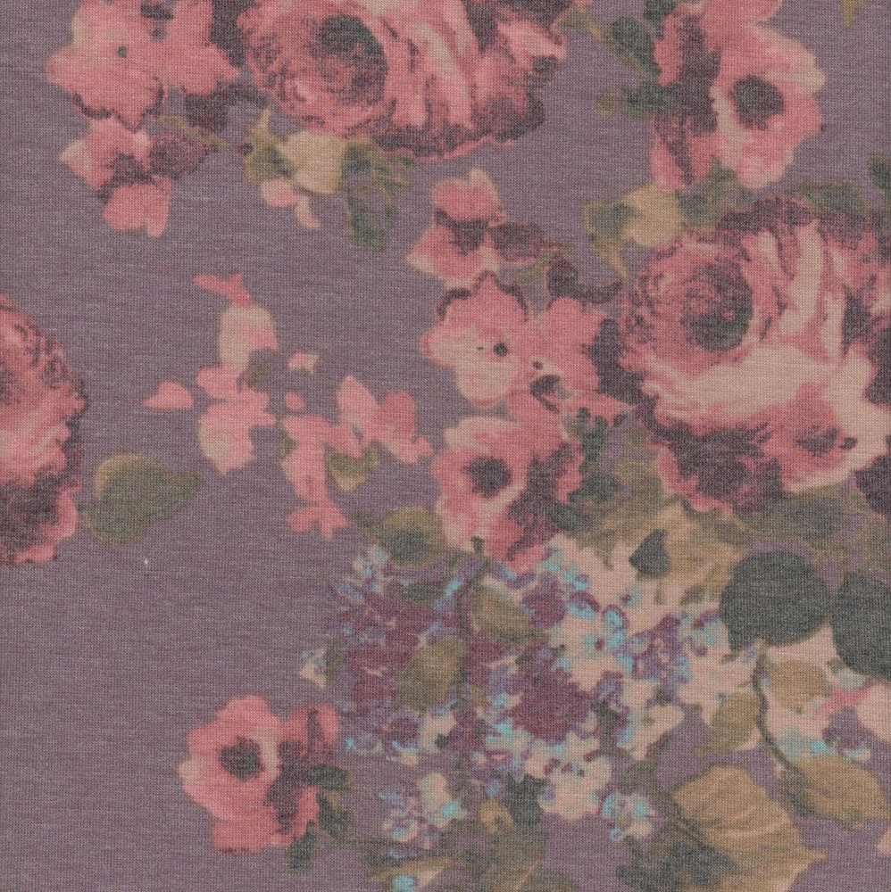 Roses on Mauve Rayon Spandex Jersey