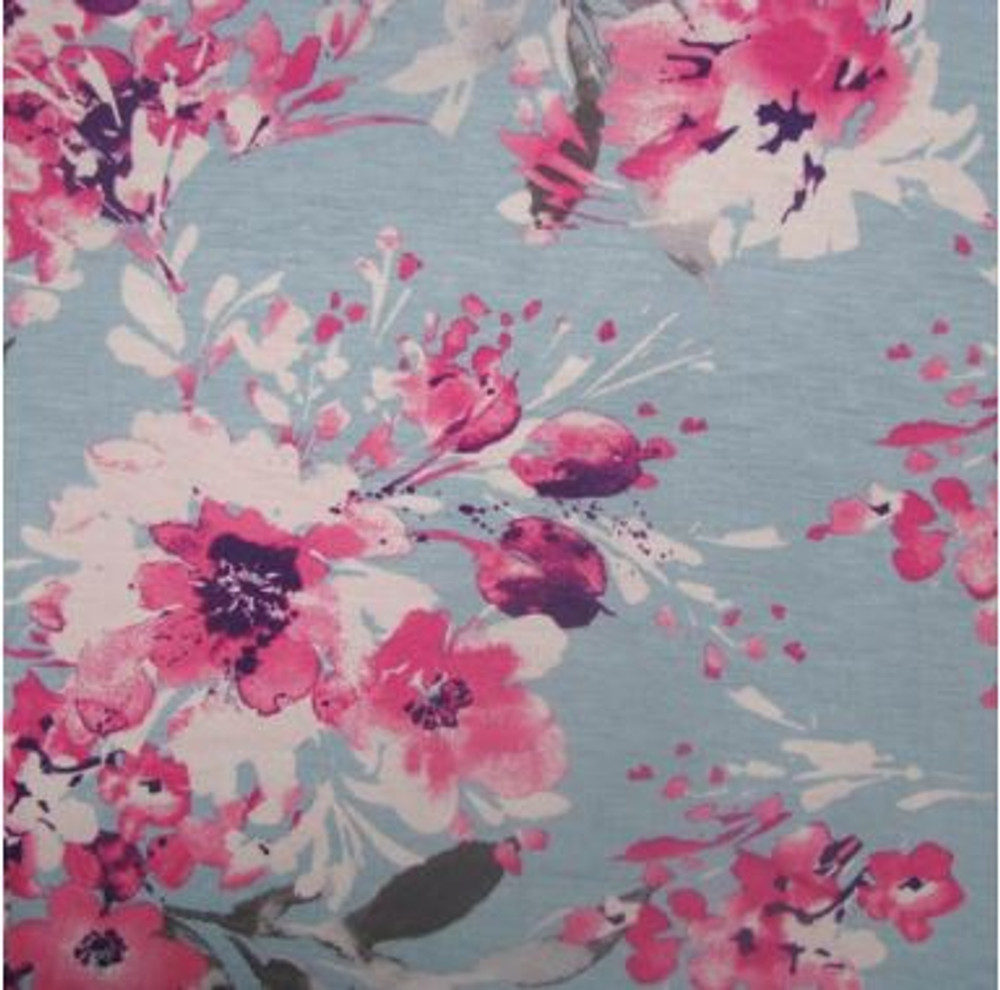 Pink Floral on Light Blue Rayon Spandex Jersey